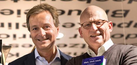 Die geschäftsführenden Gesellschafter der Buchhandelskette Thalia, Dr. Hartmut Falter und Michael Busch, melden für das Geschäftsjahr 2018/19 ein Umsatzwachstum von sechs Prozent/Foto: John M. John/Thalia