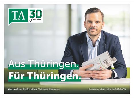 Jan Hollitzer, Chefredakteur der Thüringer Allgemeinen, ist das Gesicht der Imagekampagne anlässlich des 30-jährigen Bestehens der Tageszeitung