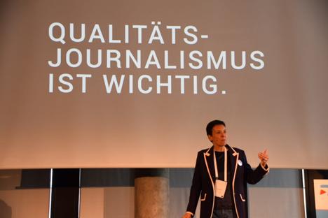 Auf dem VDZ Distribution Summit 2019 spricht Ulla Strauß von United Kiosk über die neue Presse-Flatrate des Unternehmens; Foto: Wolfgang Rakel/PFV