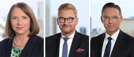 (v.l.): Angelika Wisken rückt in den Aufsichtsrat auf, Peter Esser und Sönke Reimers werden Sprecher der dfv-Geschäftsführung; Fotos: Fotostudio T.W. Klein