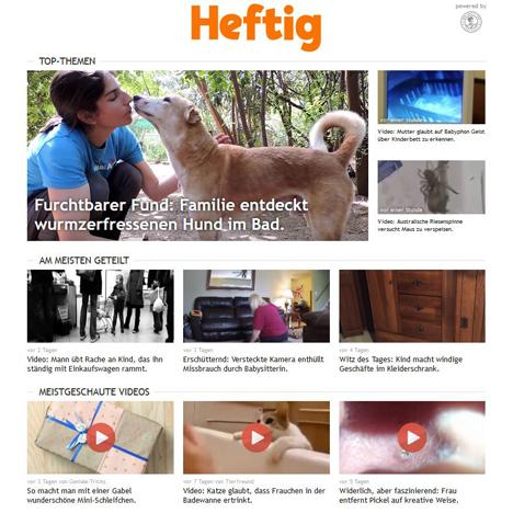 Heftig.co ist durch soziale Netzwerke groß geworden: Emotionen, Erregung, Ekel und Empörung sorgen für Involvement und Clicks